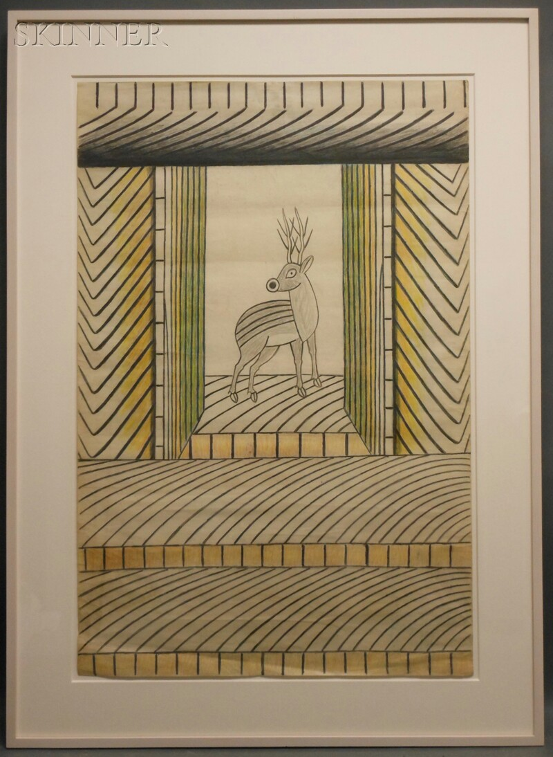 Martín Ramírez (Mexican/American, 1895-1963)      Untitled   [Deer]