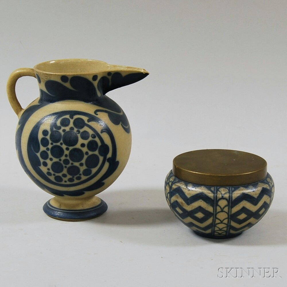 Two Pieces of Cobalt-decorated Italian Mugello Pottery