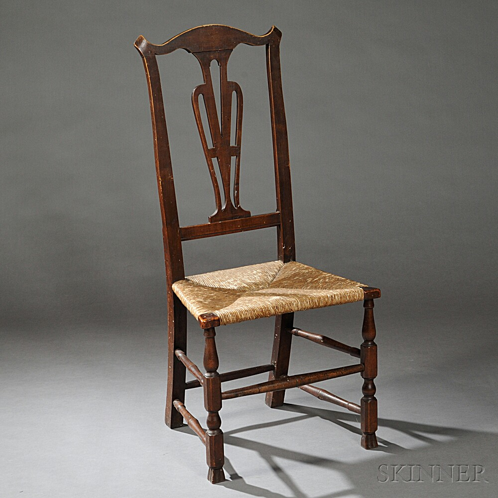 Transitional Country Chippendale Cherry Side Chair