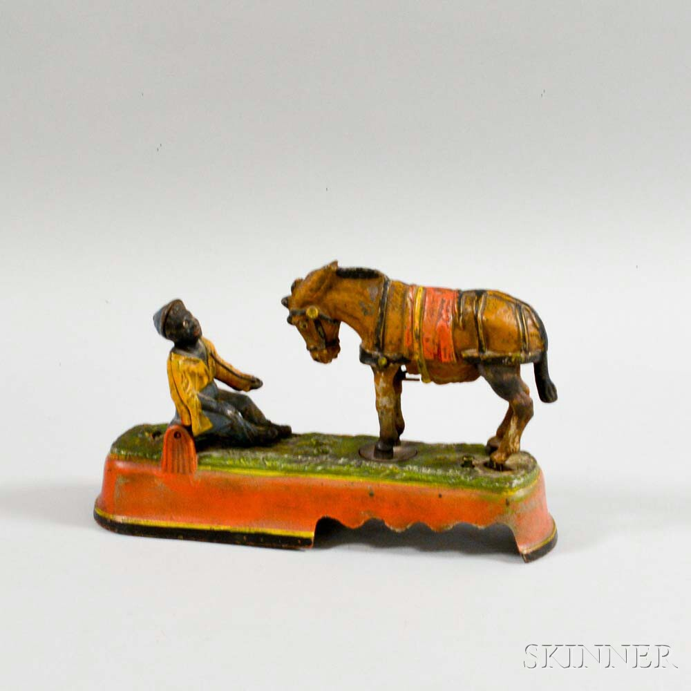 "Reproduction Painted Cast Iron ""Always Did 'Spise a Mule"" Mechanical Bank"
