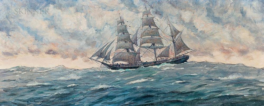 Clifford Warren Ashley (American, 1881-1947)      Under Full Sail