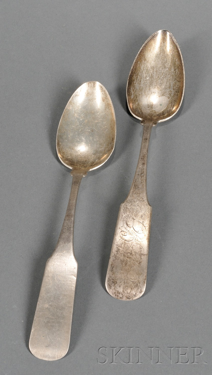 Two Coin Silver Serving Spoons