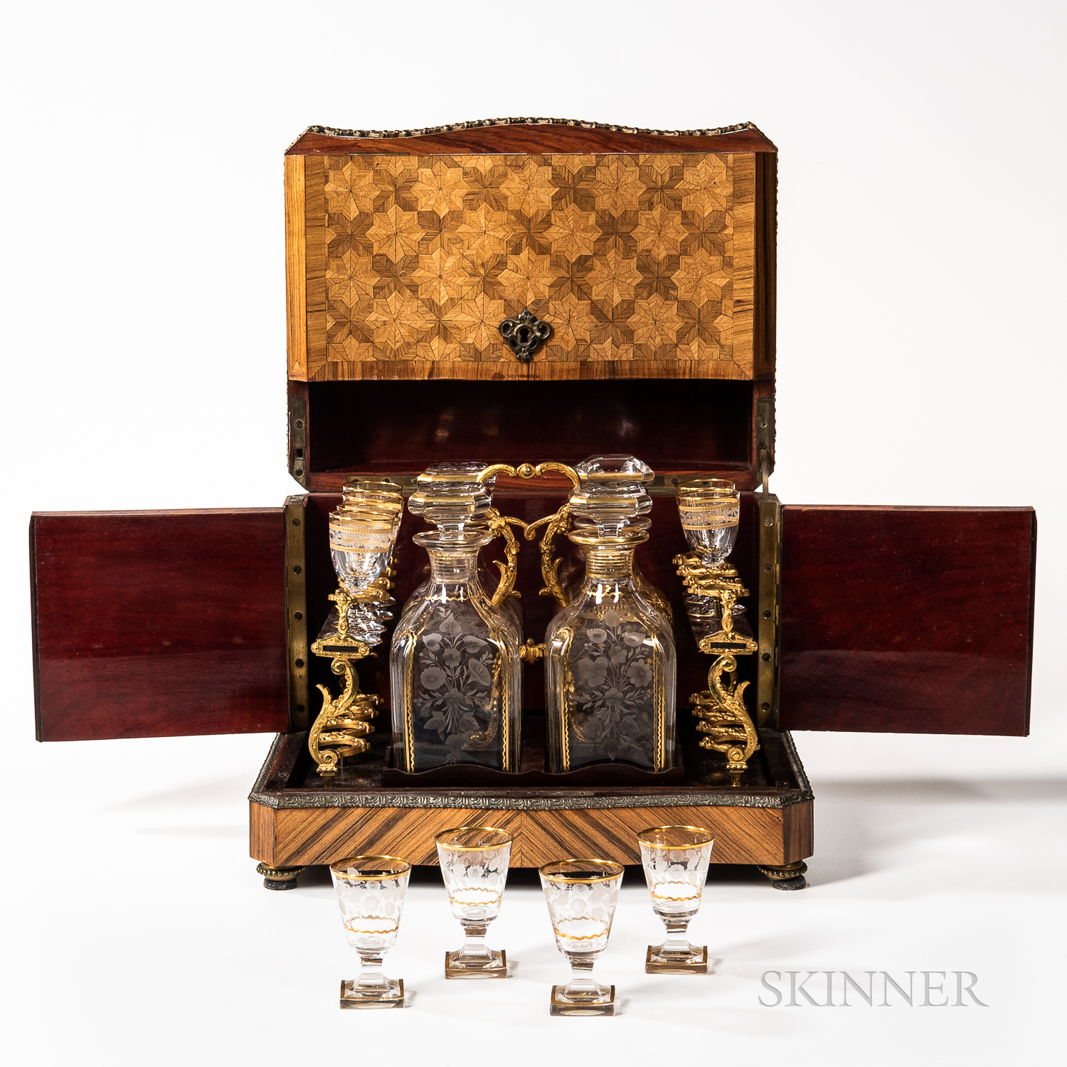 Louis XV-style Gilt-mounted Kingwood and Tulipwood Parquetry Liquor Box or Tantalus