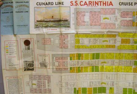 1932 Cunard Steam Ship Company Cruise Plan for the S.S. Carinthia.