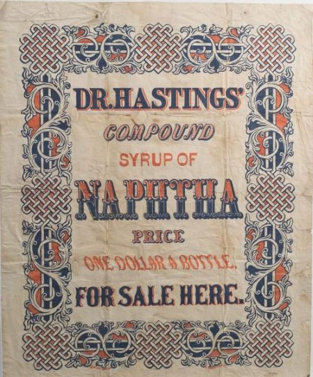 Chromolithograph Broadside Dr. Hastings' Compound Syrup of Naphtha
