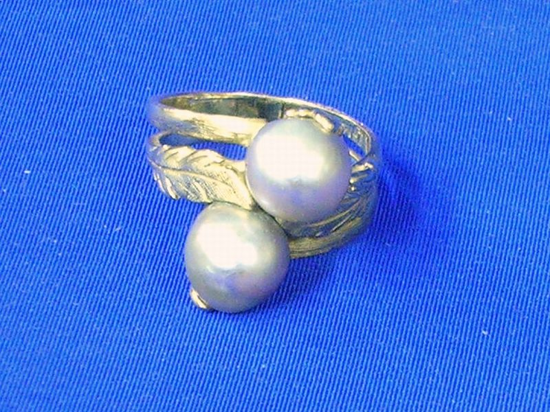 14kt Gold Double Mabe Gray Pearl Ring.