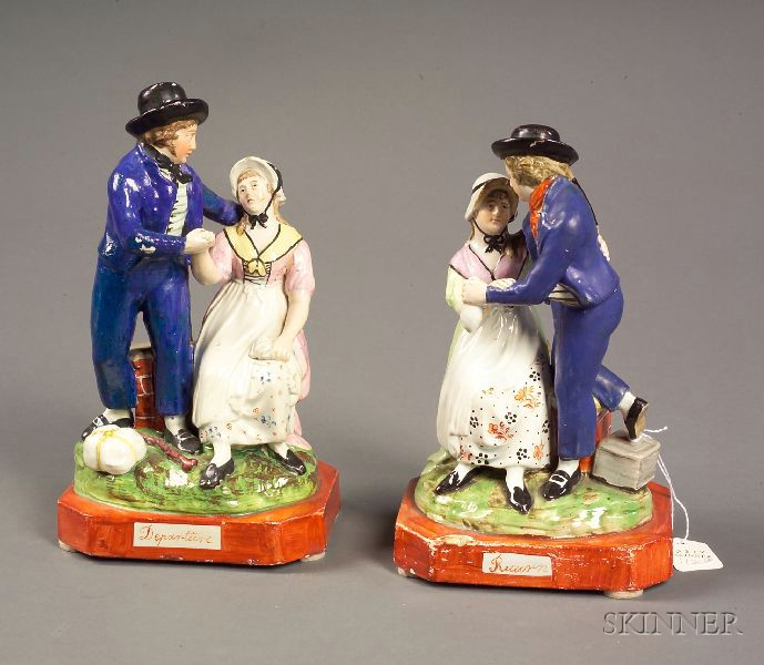 """Pair of Staffordshire Pottery """"Departure"""" and """"Return"""" Figural Groups"""