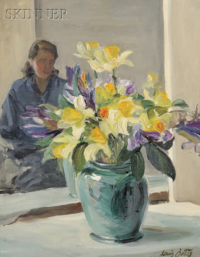 Louis Betts (American, 1873-1961)      Still Life with Daffodils and Figure