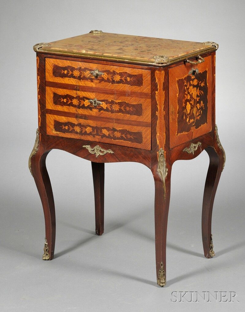 Louis XV-style Ormolu-mounted and Inlaid Mahogany Cabinet