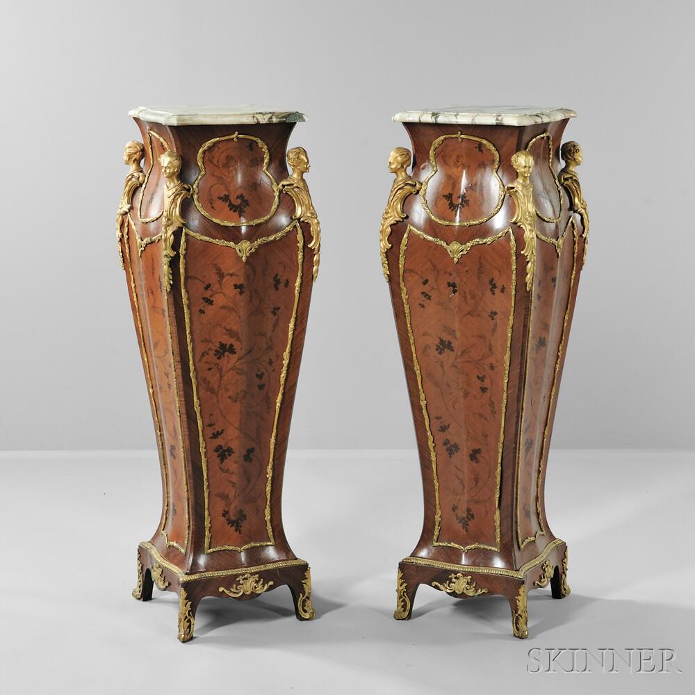 Pair of Louis XVI-style Marble-top Kingwood Pedestals