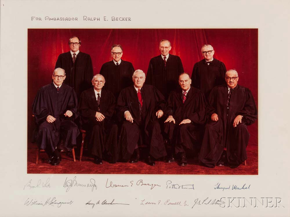 Supreme Court, Warren Earl Burger, Chief Justice (1907-1995) Signed Photograph of the Court, c. 1976.