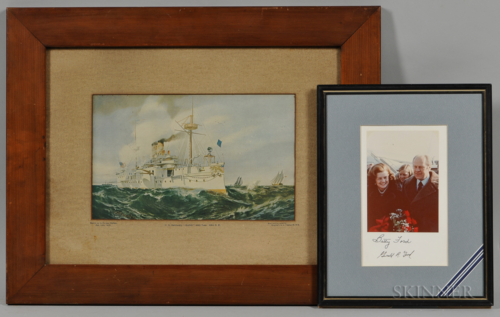 Framed Print of the U.S. Battleship Maine   and a Betty and Gerald Ford Autographed Photograph.     Estimate $100-150