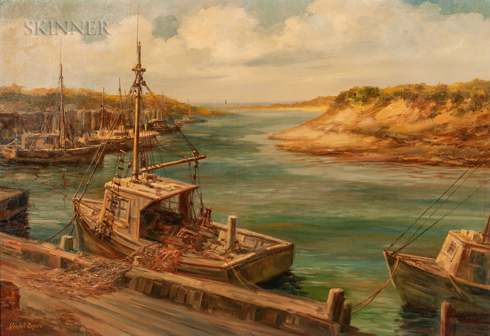 Wendell Rogers (American, 1890-1973)      Fishing Vessels at Wharf