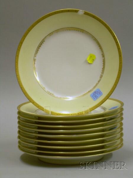 Set of Ten Gilt Limoges Porcelain Plates.