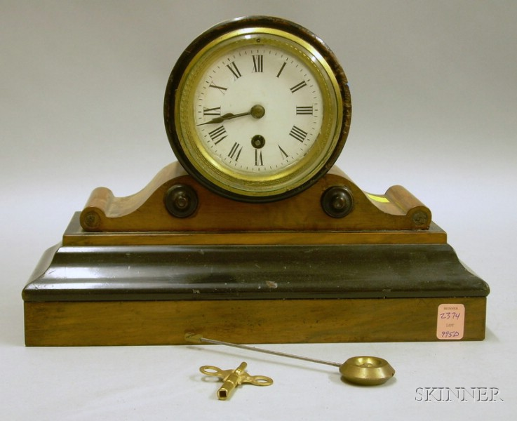French Elmwood Mantel Clock
