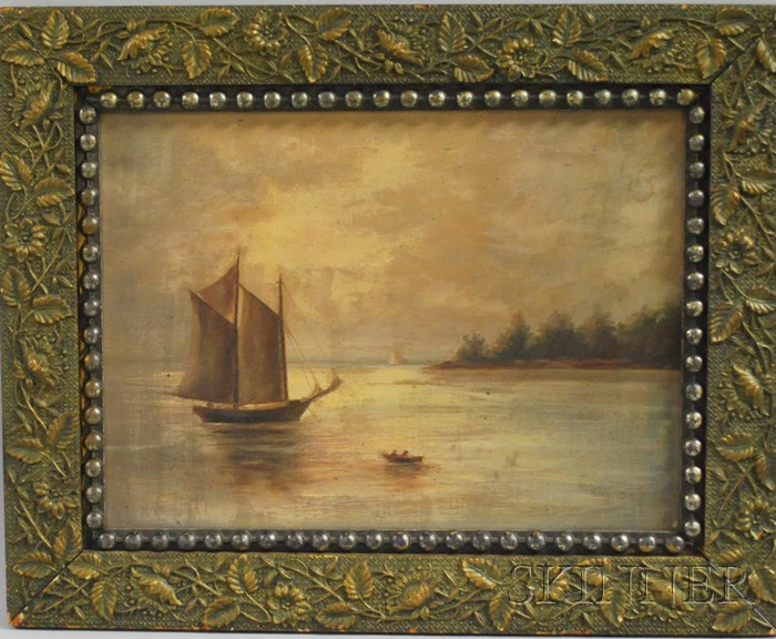 American School 19th Century Oil on Canvas Shoreline View with Boats