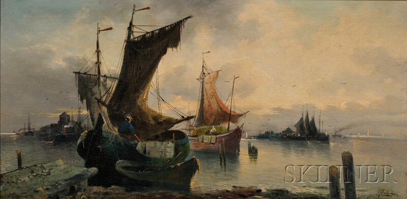 Attributed to Karl Kaufmann (Austrian, 1843-1902)      Fishing Boats