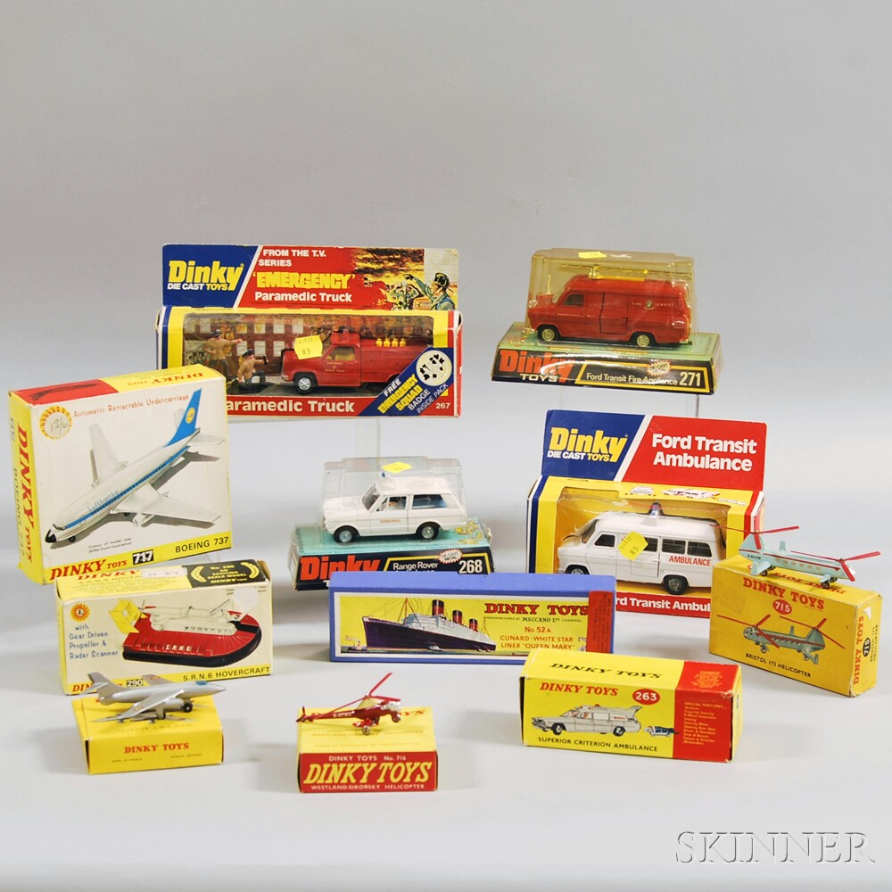 Twelve Meccano Dinky Toys Die-cast Metal Aircraft, Ship and Emergency Vehicles