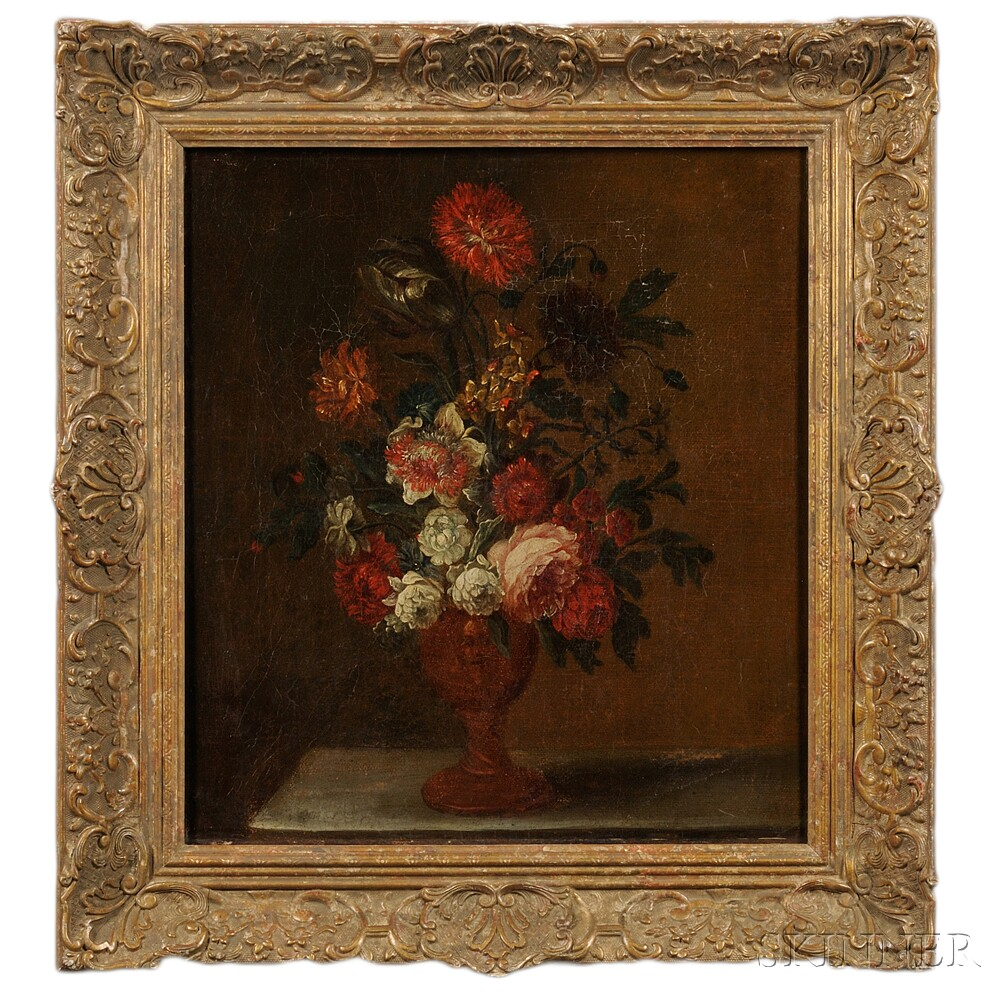 Continental School, 17th/18th Century Floral Still Life in a Classical...