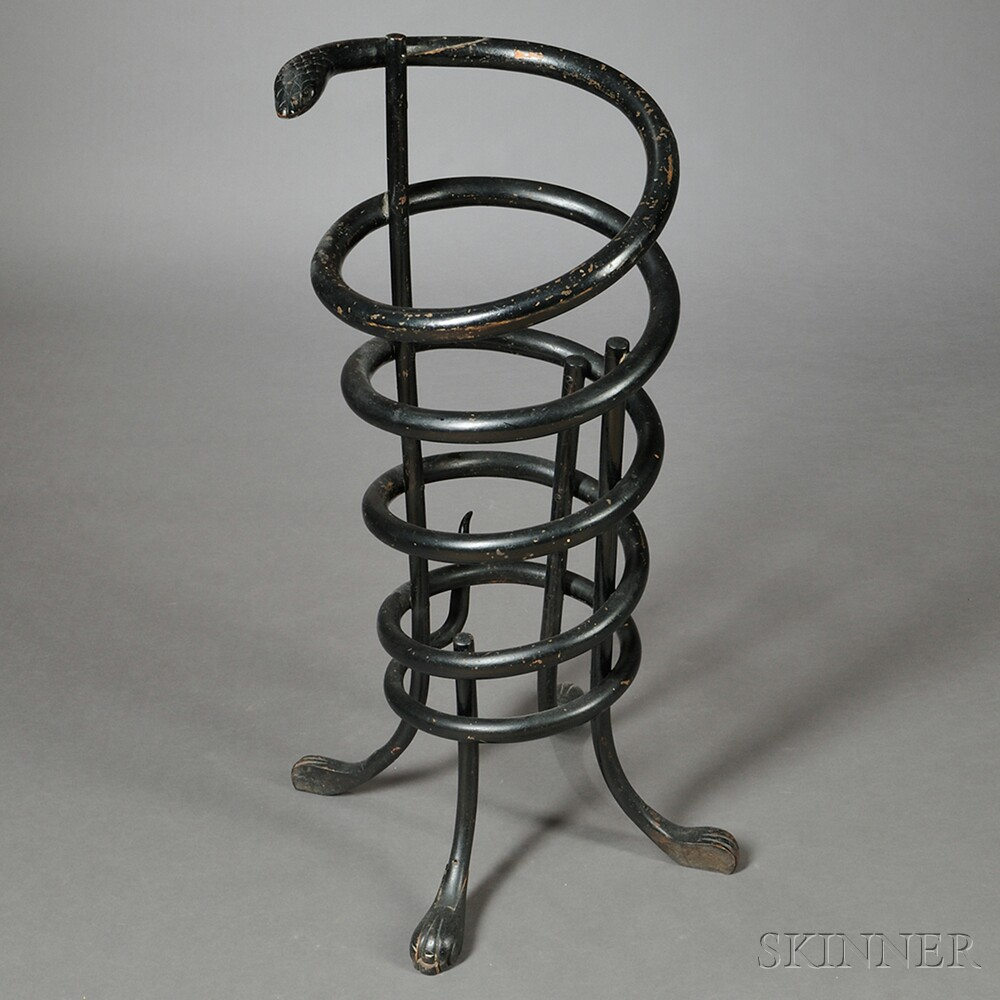 Black-painted Snake-form Umbrella Stand or Cane Holder