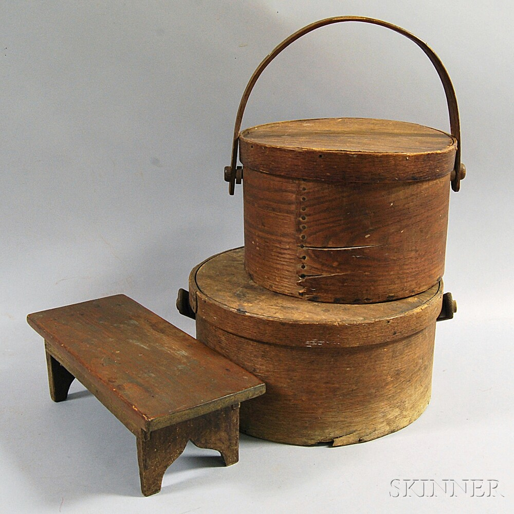 Two Round Swing-handled Pantry Boxes and a Cricket