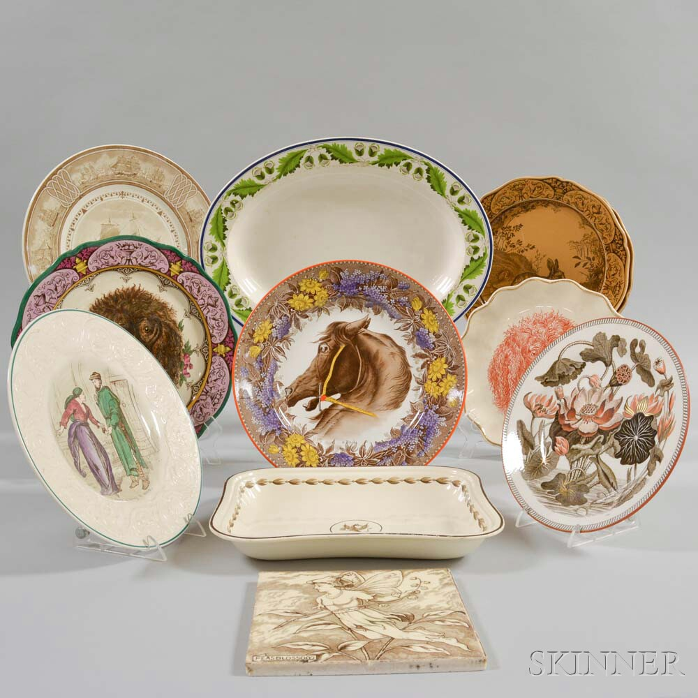Ten Wedgwood Transfer-decorated Dishes and a Tile