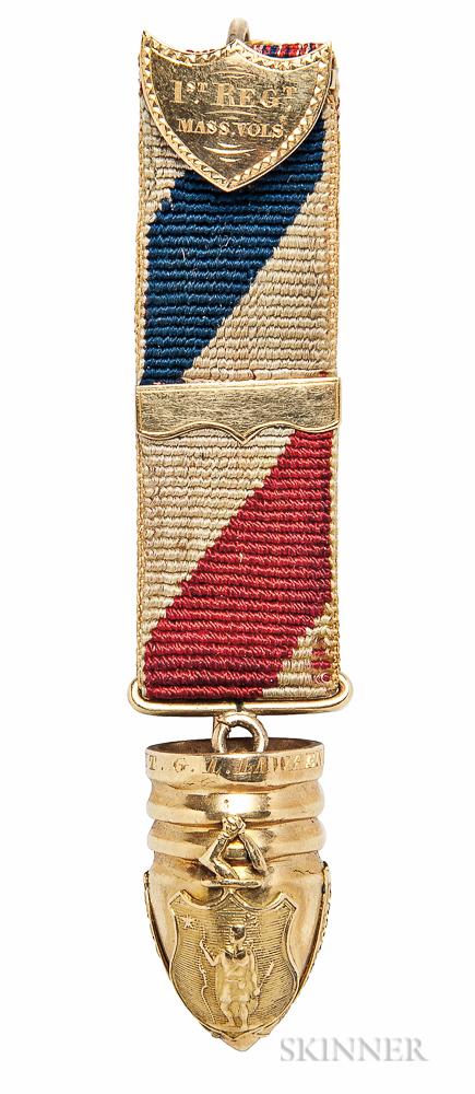 Gold Massachusetts Hanging Ball Badge Named to Lieutenant George L. Lawrence, 1st Massachusetts Volunteer Infantry