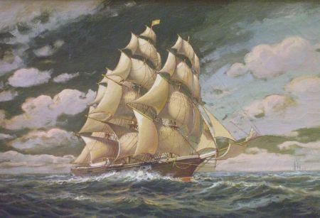 Framed Oil on Canvas of Ship