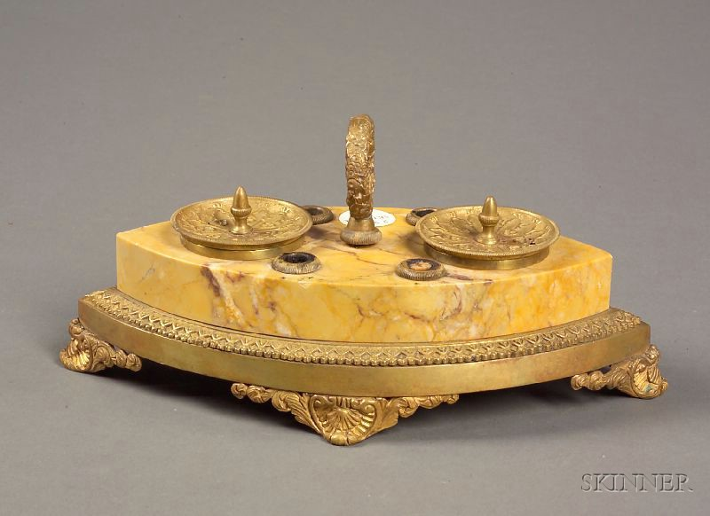 Grand Tour Siena Marble and Bronze Mounted Inkstand