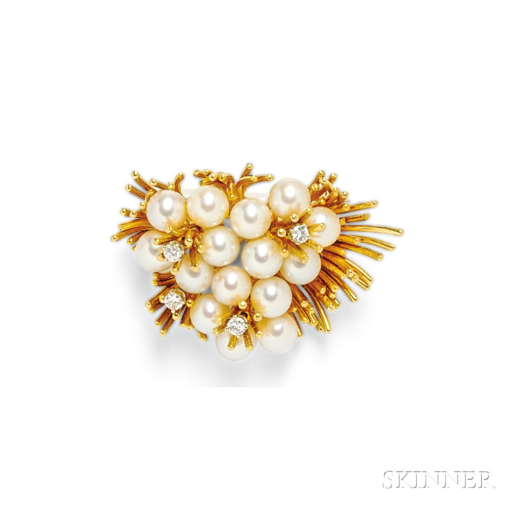 18kt Gold, Cultured Pearl, and Diamond Brooch