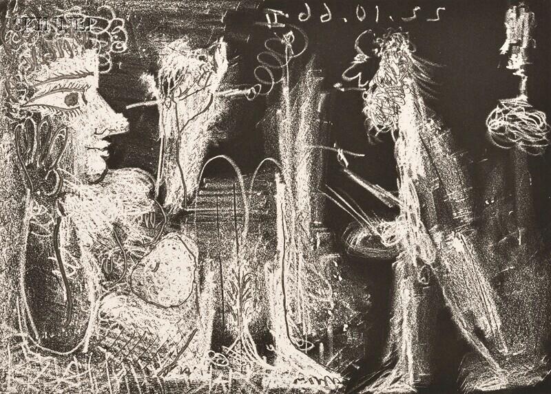 Pablo Picasso (Spanish, 1881-1973)      Modèle au fume-cigarette