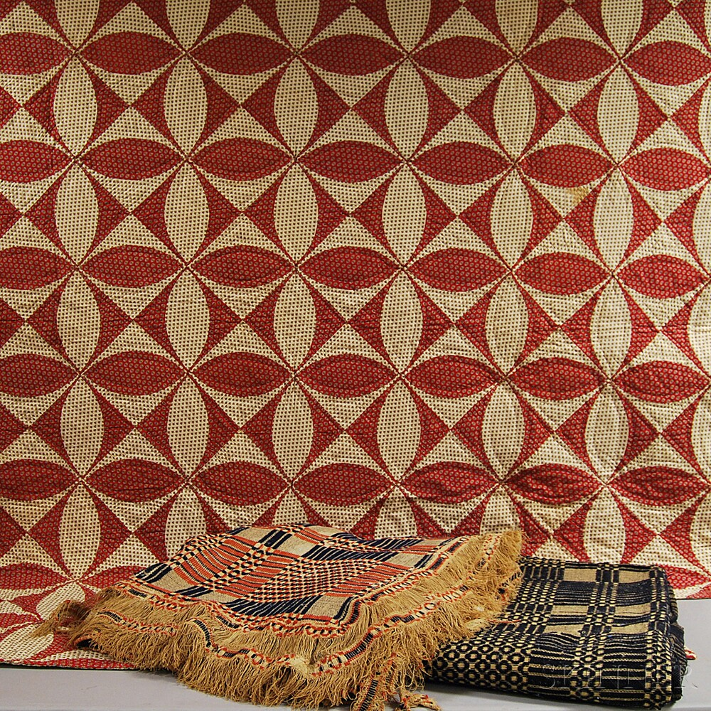 Two Wool Woven Coverlets and a Quilt