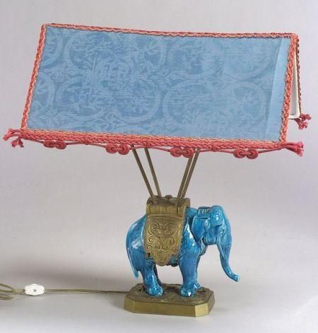 French Aesthetic Movement Faience and Gilt-metal Elephant Lamp