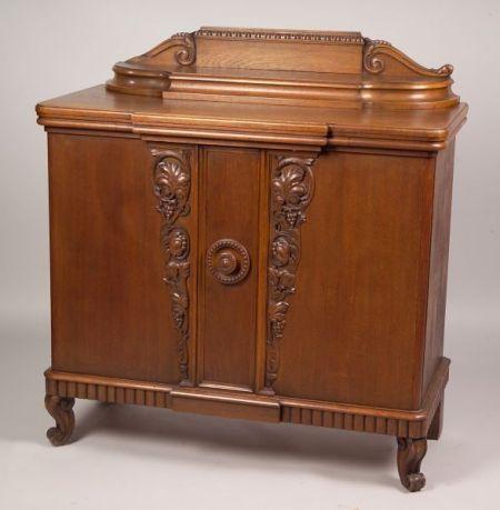 French Art Deco Carved Oak Server