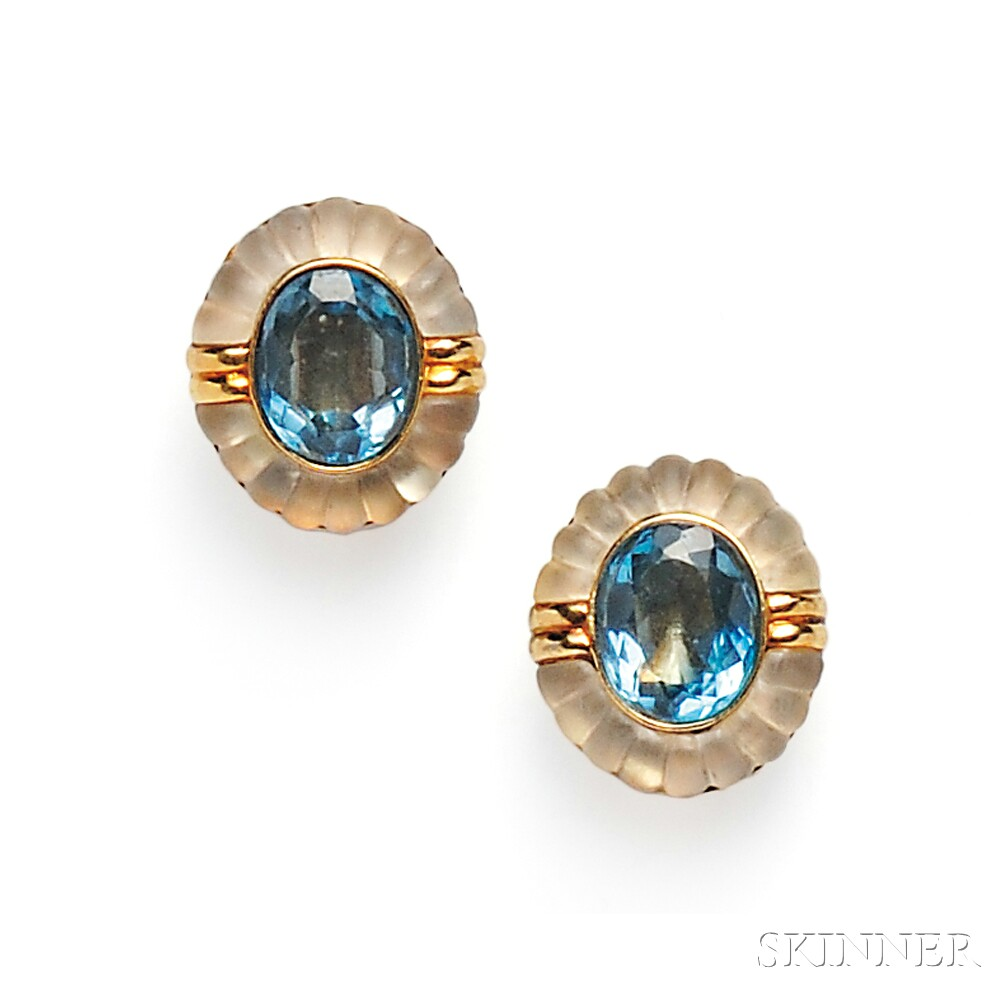18kt Gold, Blue Topaz, and Rock Crystal Earclips, Ming's