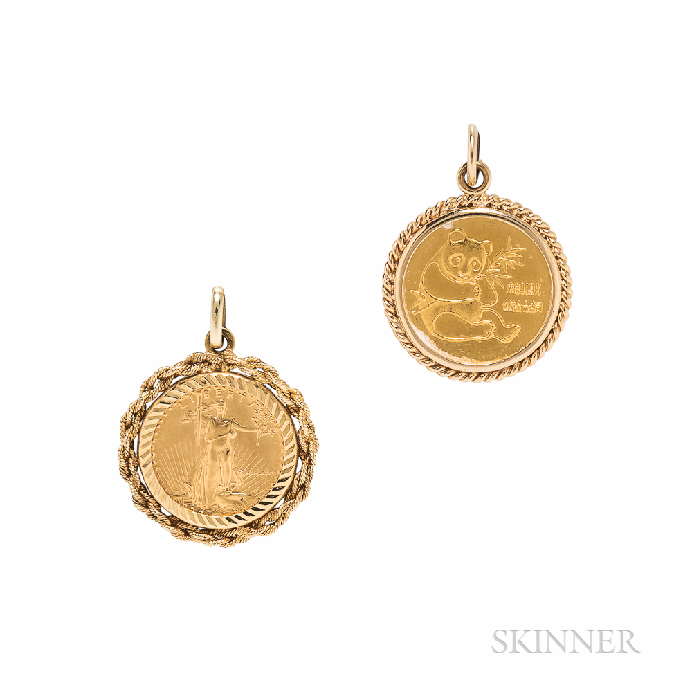 Two 1/10 Ounce Gold Coin Pendants