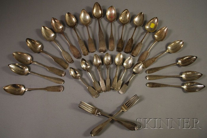 Approximately Thirty Coin and Sterling Silver Spoons