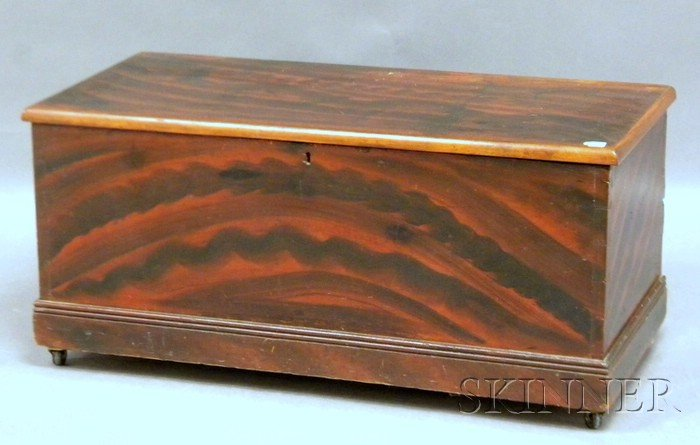 Grain-painted Pine Dovetail-constructed Blanket Box