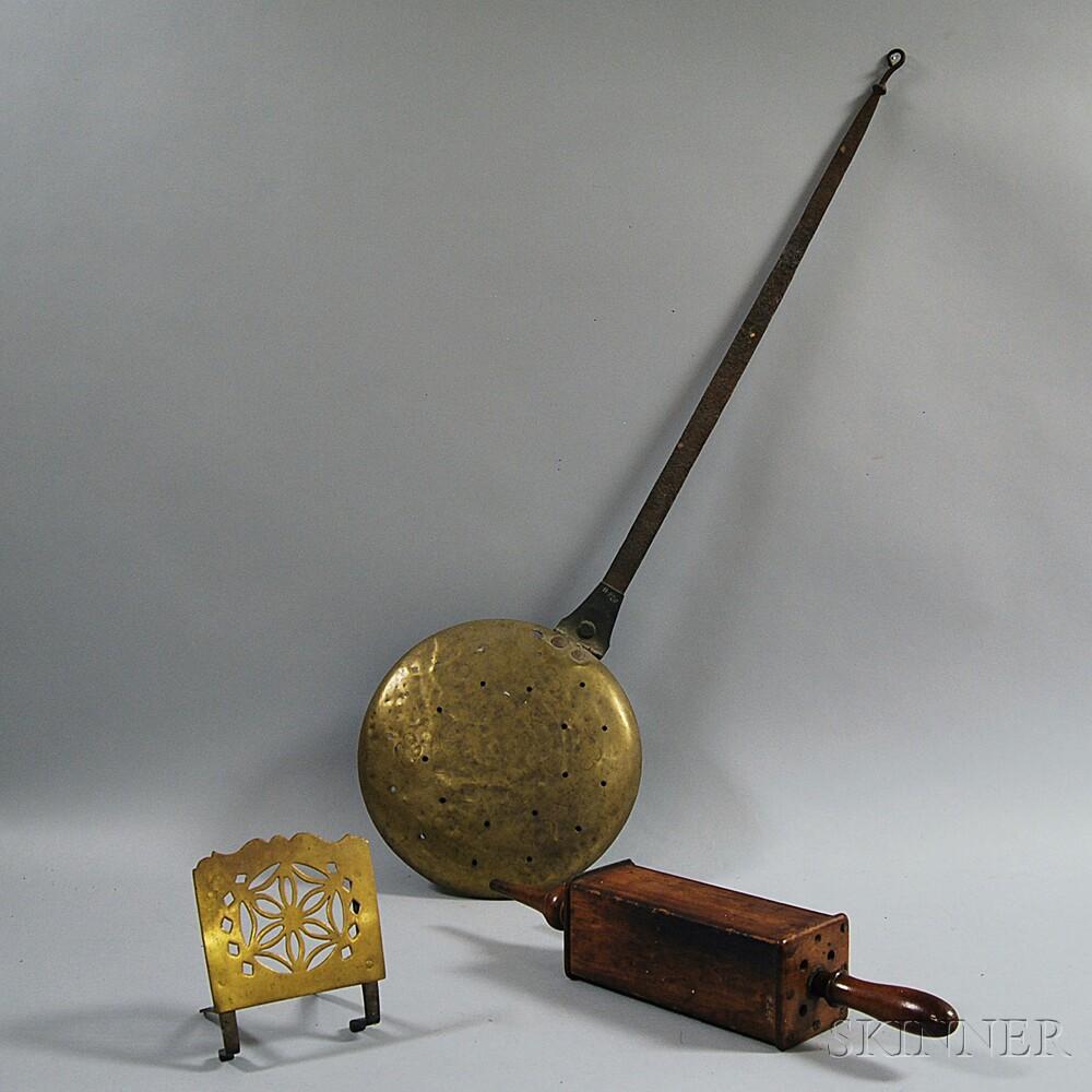 Bellows, a Pierced Brass Trivet, and a Wrought Iron and Brass Bedwarmer