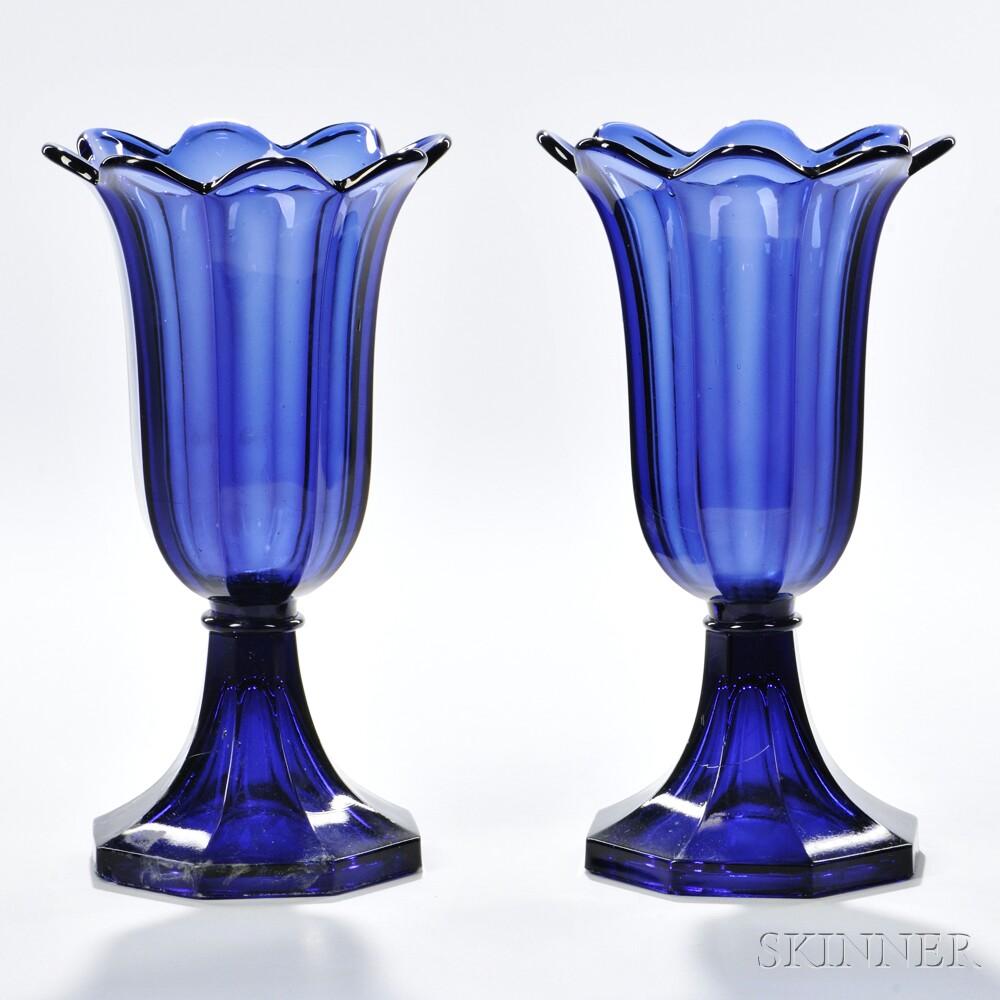 Pair of Dark Blue Pressed Glass Tulip Vases