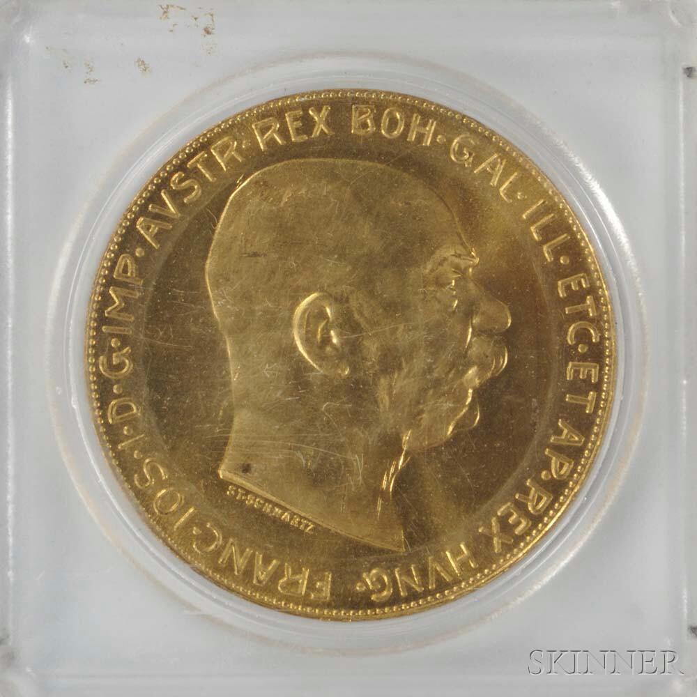 1915 Austrian 100 Corona Gold Coin.     Estimate $1,000-1,500