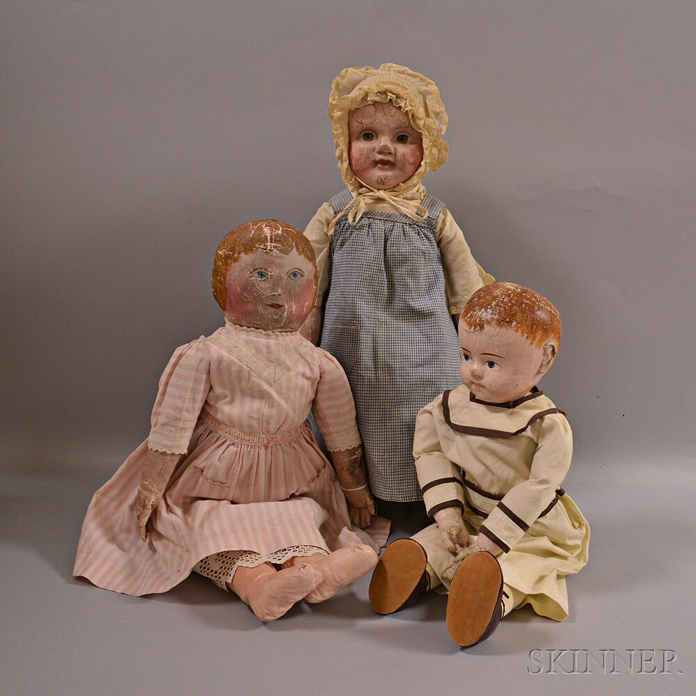 Three Painted Cloth Dolls