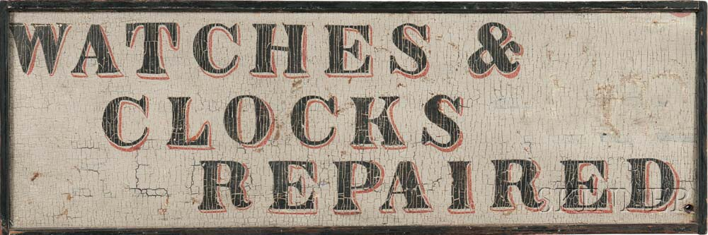 """Painted """"WATCHES & CLOCKS REPAIRED"""" Trade Sign"""