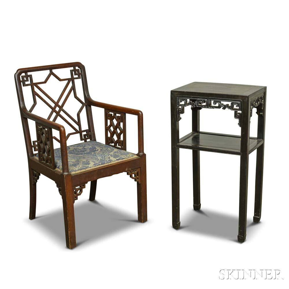 Chinese Carved Hardwood Stand and Armchair