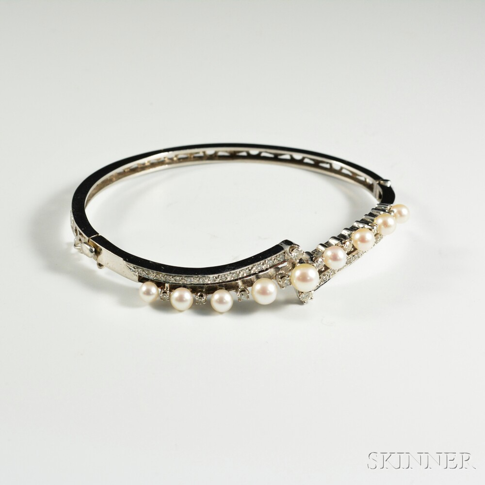 14kt White Gold, Cultured Pearl, and Diamond Hinged Bangle