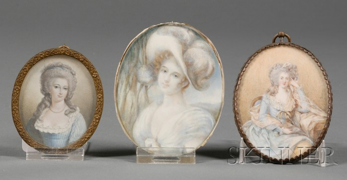 Three Continental Portrait Miniatures on Ivory of Elegant Ladies