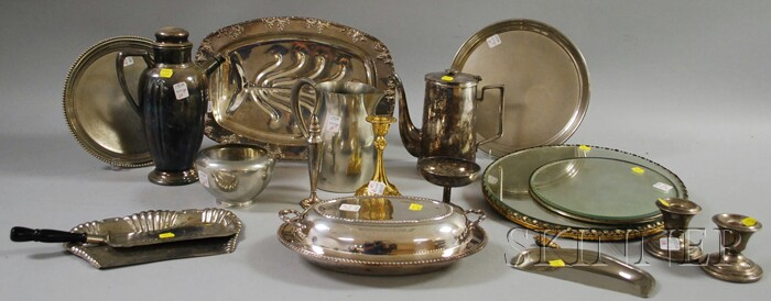 Fifteen Pieces of Silver-plated and Metal Hollowware, Trays, and Two Mirrored Plateaux.