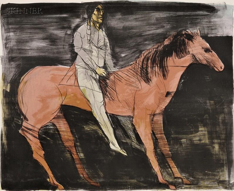 Leonard Baskin (American, 1922-2000)      Scout - Man on Horse