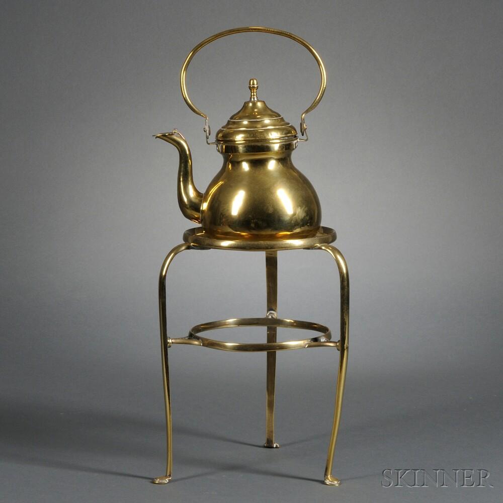 Brass Tea Kettle on Stand