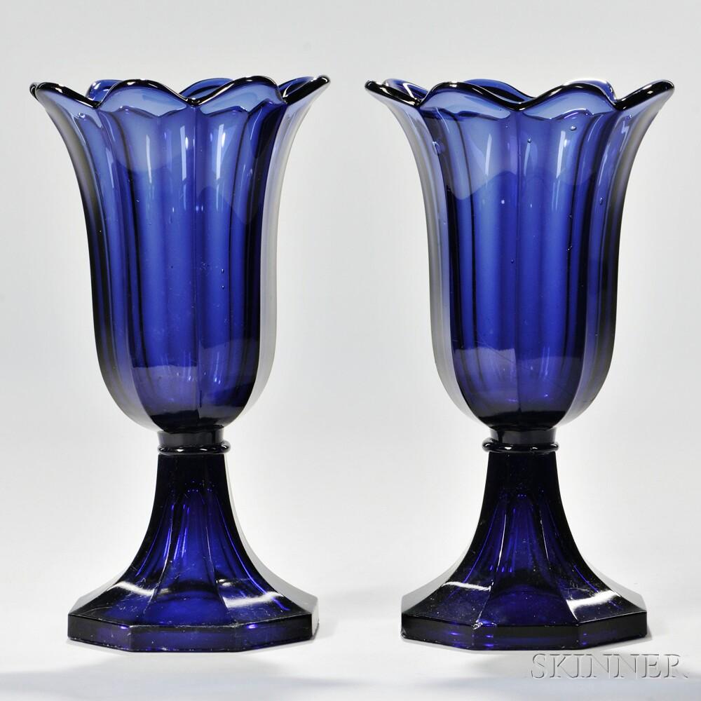 Pair of Blue Pressed Glass Tulip Vases